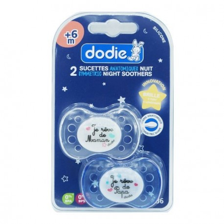 Dodie sucette silicone +6 mois nuit 2 sucettes