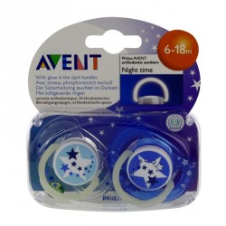 Avent sucette nuit silicone 6-18 mois 2 sucettes