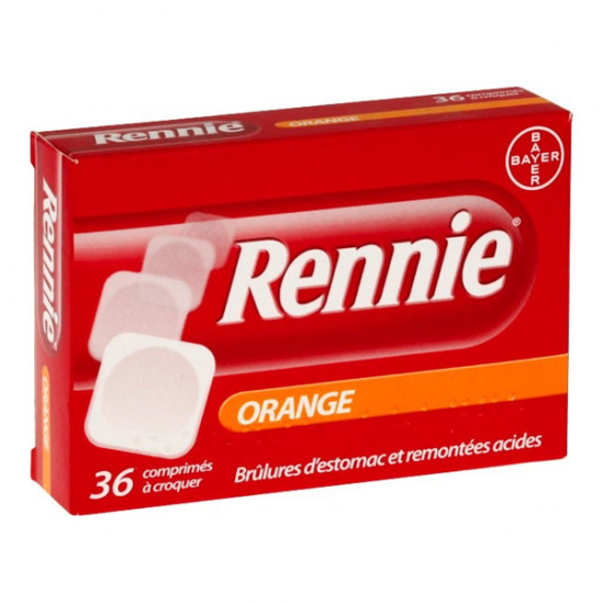 Rennie orange 36 comprimés à croquer